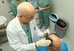 Dr. Bernstein creating a hair transplant design